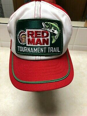 a3448bc6726 Vtg Red Man Tournament Trail Truckers Patch Hat Cap Mesh Snapback Swingster  USA