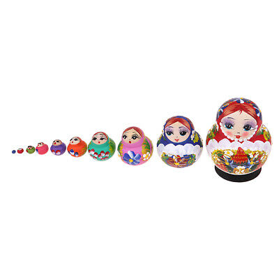 Girl Russian Nesting Doll Wood Babushka Matryoshka Stacking Dolls Set 10PCS