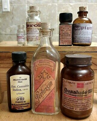 Old Medicine Bottle Hand Crafted,Opium,Quaalude,Heroin,Cannabis,Fentanyl,Nitro