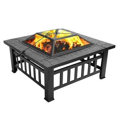 """32"""" Square Metal Fire Pit Outdoor Patio Heater Fireplace Backyard Stove"""