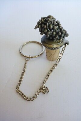 Pewter Metal Wine Grapes Bottle Stopper Cork Décor Small