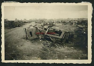 PHOTO WW2 1940 DUNKERQUE CAMIONS TRUCKS CARS VOITURE MILITARY CIVILIAN 3rd CORPS