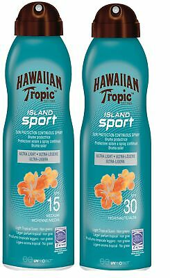 Hawaiian Tropic Island Sport Spray SPF30 SPF15 220ml Sunscreen Double Pack