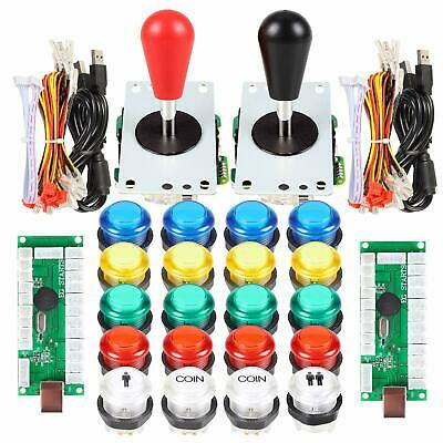 2 Player Arcade Games DIY Kit Parts 2 Ellipse Oval Joystick + 20 LED MIX Buttons