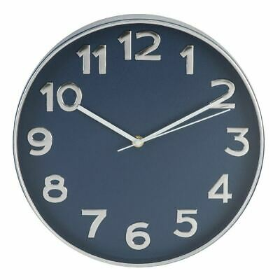 Hometime Plastic Case Wall Clock Silver & Blue 30.5cm
