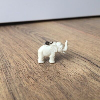 Tiny White Plastic Elephant Metal Ring to Hang Ornament Lucky Charm Trunk up Old