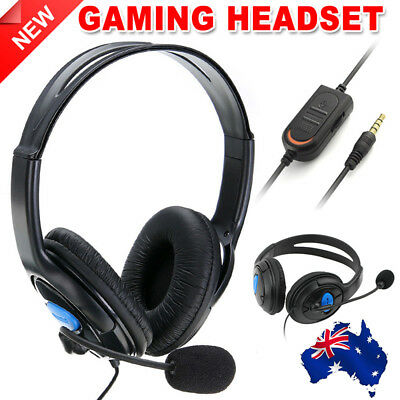 Gaming Headset Headphone with Wired Microphone Volume for PS4 PlayStation 4