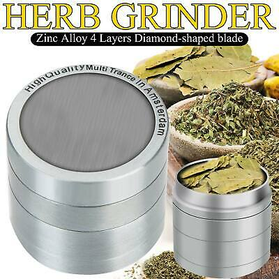 4 Piece Herb Grinder Spice Tobacco Smoke Zinc Alloy Crusher Silver