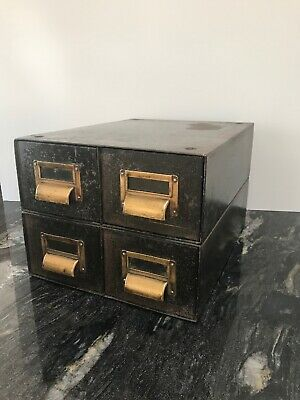 Roneo Vintage 4 Drawer Metal Filing Cabinet Industrial military Storage Card