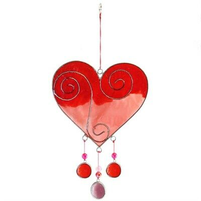 Sun Catcher, Red & Pink Heart - Stained Glass - Brand New