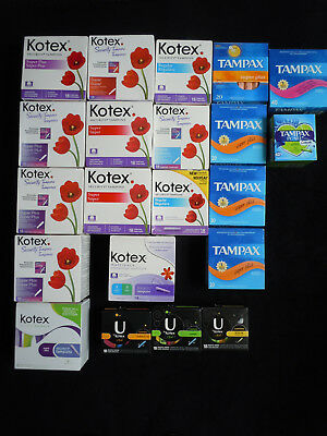 NEW Sealed- 21 Boxes (410 Tampons) Kotex, U by Kotex, Tampex TAMPONS