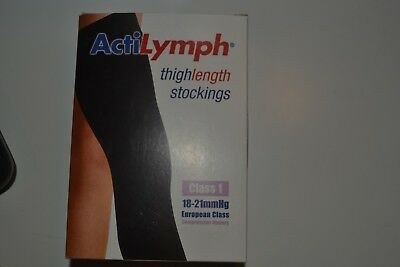 ActiLymph Thigh length C1 Med Top band Compression sockings- pair Black