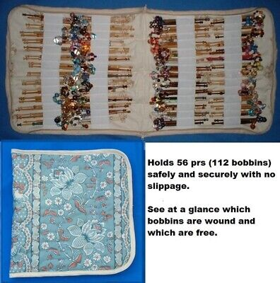 Padded Zip Bobbin Bag Holds 56 Prs Safely & Securely' Turquoise Flowers' Pattern