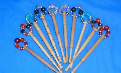 B.5 Pairs(10) Turned Lace Bobbins-Some New -Some Used Spangled With New Beads -