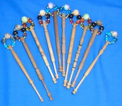 A. 5 Prs (10)Turned  Basic Learners Bobbins  Spangled With New Quality Beads.