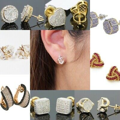 Fashion Rhinestone Crystal Pearl Earrings Set Women Ear Stud Jewelry 14KT Gold