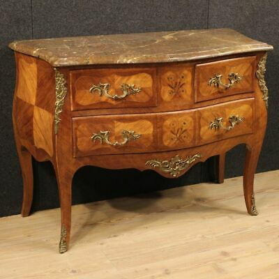 Dresser inlaid wooden chest of drawers marble bronze antique style 900 cabinet
