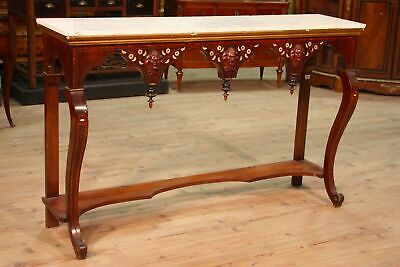 Console table wood furniture antique style marble top antiques 900