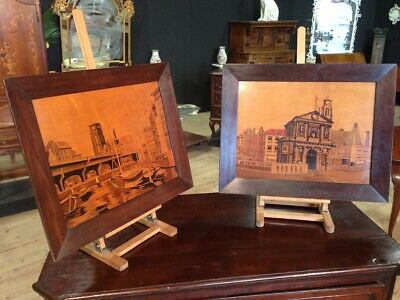 Pair boards paintings inlaid work of art dutch dated signed antique style 900 XX