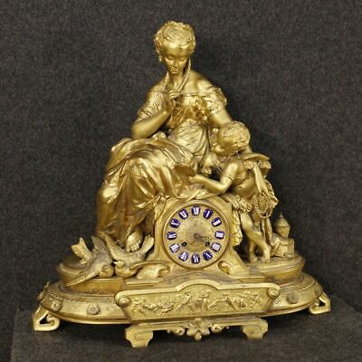 Watch french object antique style in antimony golden sculptures putto 900