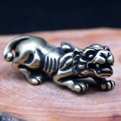 Chinese Rare Collectible Old brass Handwork Antique Lion small Statue