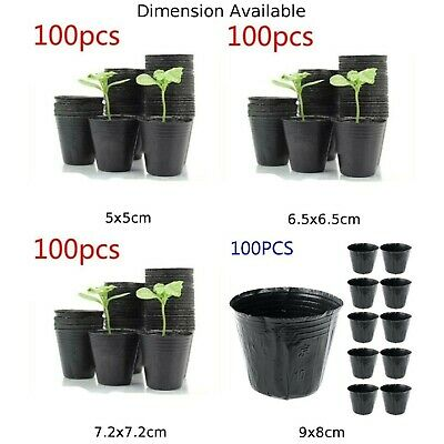 100Pcs Plastic Thicken Nursery Pot Seedlings Flower Plant Container Garden Seed