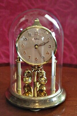Antique 'Bentima' English 400-Day Anniversary Clock in Glass Dome