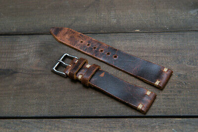 Vintage suede Crazy Cow leather watch strap,10mm-26mm Handmade in Finland