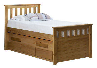 Bergamo captain's bed with trundle bed & 3 large drawers - solid antique pine