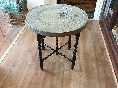 Vintage Brass Top Folding Table With Turned Legs - Free Uk Delivery