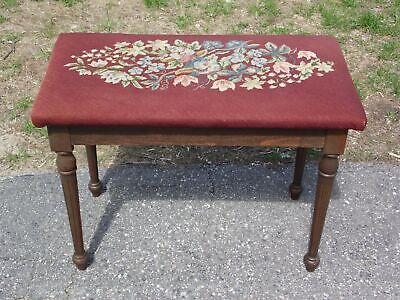 Vintage Needlepoint Piano Bench Vanity Chair Sewing Stool Bench Footstool Opens