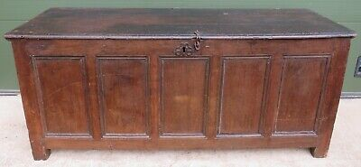 Large Antique C18th Five-Panel Solid Oak Coffer Blanket Box Country Piece