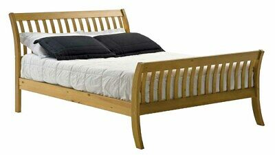 Parma Sleigh Style Bed Frame, Antique pine finish, Pine Frame, CHOOSE YOUR SIZE
