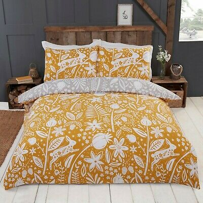 Rapport Woodland Woodcut Reversible Floral Rabbit Duvet Cover Bedding Set Ochre