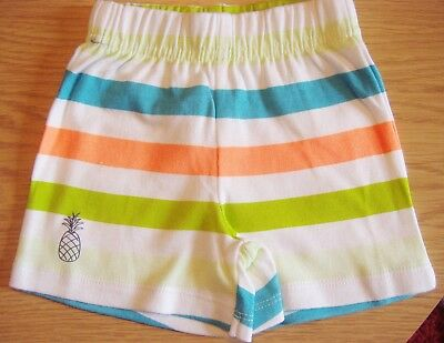 Boys white striped soft cotton shorts age  0-3 months new from Ladybird