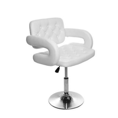 Salon Chair PU Leather Barber Hairdressing Swivel Chair Kitchen Bar Stool White