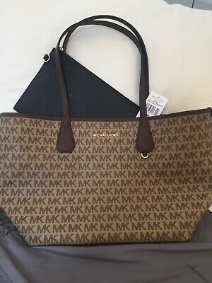 3322e46f994d Michael Kors Candy Large Reversible Tote Brown Signature Black Pouch MK Logo