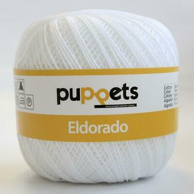 2 x Eldorado Puppets 50g Ball Crochet Thread Size 10 White 07001 100/% Cotton