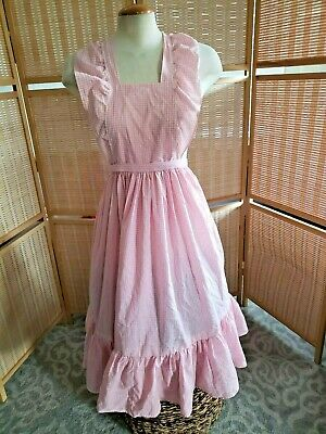 VTG pink  pinafore apron square dance Gingham Plaid Bodice Country Prairie med