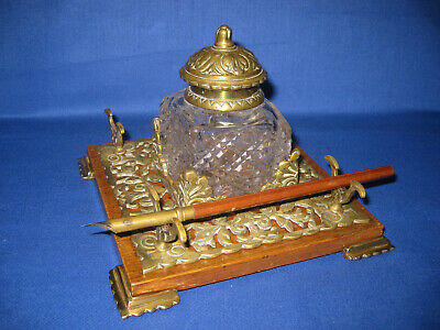 Antique Stylish Late Victorian Brass And Wood Cut Glass Inkwell with Dip Pen