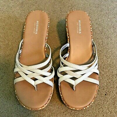 b43a06f00 SONOMA ANKLE STRAP Flats Cute White Silver Girls Sandals Size 5 M ...
