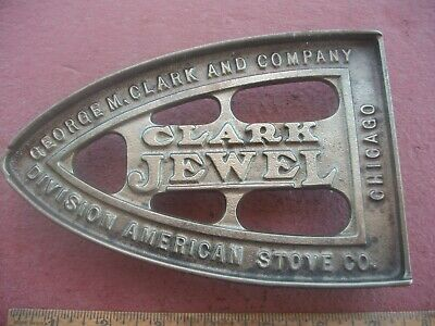 OLD Antique Cast Iron Advertising Trivet for Stoves CLARK JEWEL #1585 GRISWOLD ?