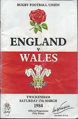England v Wales 1984 Five / 5 Nations Programme Rugby Union @ Twickenham