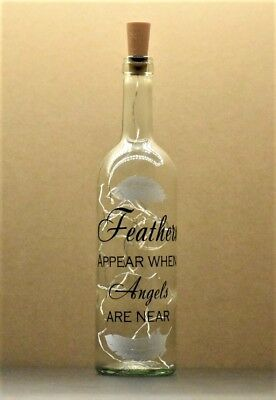 Decorative Wine Bottle with Feather & Angel themed verse and Battery LED lights