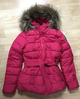 Beautiful girls Abercrombie Pink Red puffer coat with faux fur hood size M