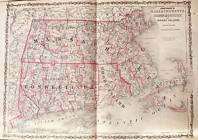Hand colored map Massachusetts-Connecticutt- Rhode Island Johnson and Ward 1863