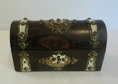 19th C. Rosewood Scent Bottle Box, Brass Mounts & Studs, Dome Top