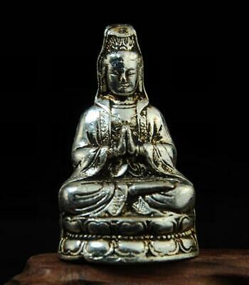 chinese old handmade cooper-plating silver kuan-yin statue