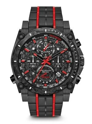 New Bulova Precisionist Chrono 98B313 Black Ip Stainless Steel And Carbon Case