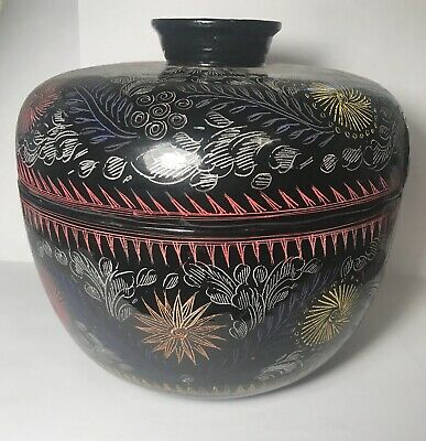 Vintage Japanese Urushi Lacquer Rice Bowl With Lid Beautiful Container Jar